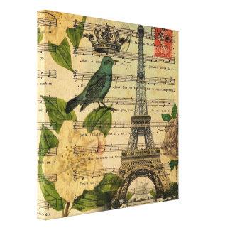Vintage botánico París del arte de los pájaros del Impresion En Lona