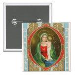 Vintage botón religioso de Maria y de Jesús Pin