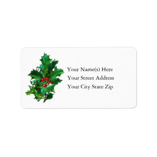 Vintage Bough of Holly Christmas Custom Address Labels