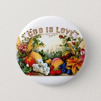 Vintage Bountiful Harvest God is Love 1874 Button