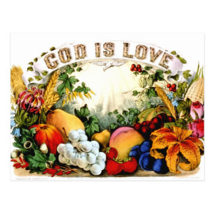 Vintage Bountiful Harvest God Is Love 1874 Postcard