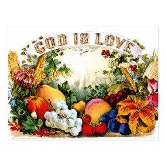 Vintage Bountiful Harvest God is Love 1874 Post Cards
