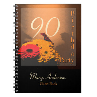 Vintage Bouquet - 90th Birthday Party Guest Book Notebook