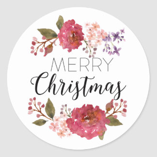 Vintage Bouquet Christmas Holiday | Classic Round Sticker