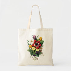 Vintage Bouquet Colorful Flowers Display Bag at Zazzle