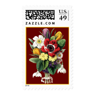 Vintage Bouquet Colorful Flowers Display Stamp