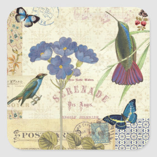 Vintage Bouquet of Flowers, Birds and Butterflies Square Sticker