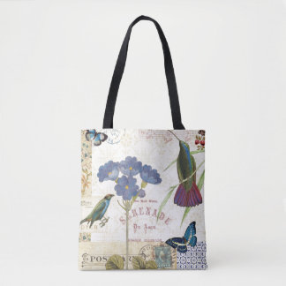 Vintage Bouquet of Flowers, Birds and Butterflies Tote Bag
