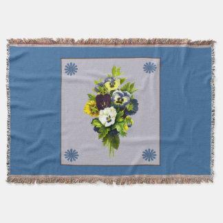 Vintage Bouquet of Pansies Throw Blanket