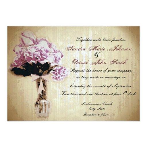 Vintage Bouquet Wedding Invitation
