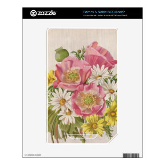 Vintage Bouquet with Daisies Skins For NOOK Color