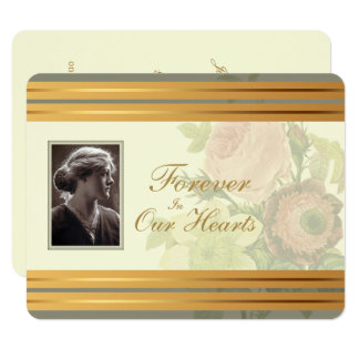 Vintage Bouquet with Photo frame Memorial Service Card