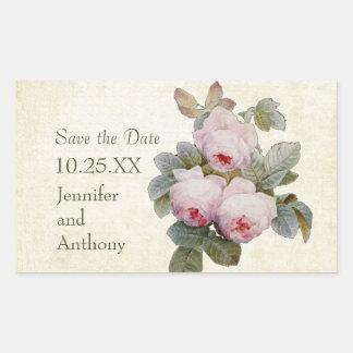 Vintage Bourbon Rose Save the Date Custom Rectangular Sticker