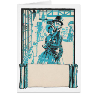 Vintage Bourgeoise Couple Christmas Shopping Greeting Cards