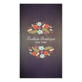 Vintage Boutique Wood Look Flower Business Card
