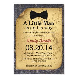 "Vintage Bow Tie Little Man Wood Baby Shower 5"" X 7"" Invitation Card"