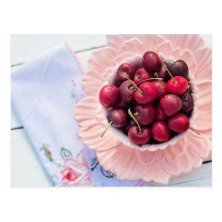 Vintage Bowl of Cherries Postcard