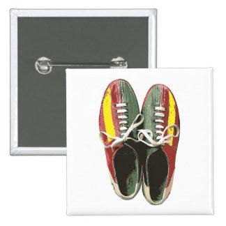 Vintage Bowling Shoes Retro Bowling Shoe 2 Inch Square Button