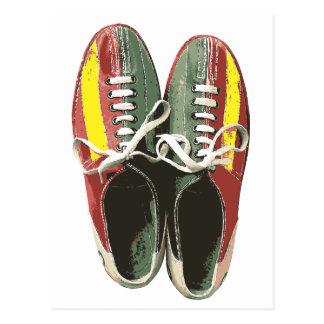 Vintage Bowling Shoes Retro Bowling Shoe Postcard