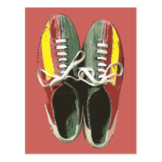 Vintage Bowling Shoes Retro Bowling Shoe Postcard