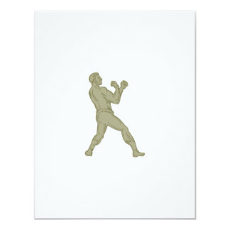 Vintage Boxer Fighting Stance Mono Line Card