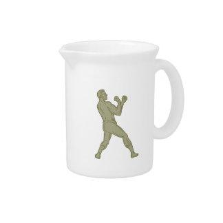 Vintage Boxer Fighting Stance Mono Line Drink Pitcher