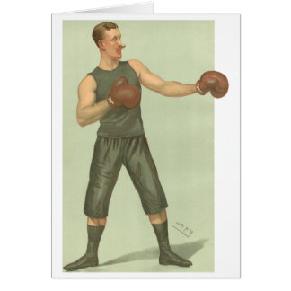 Vintage Boxer with Long Green Trunks Card