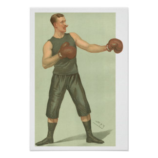 Vintage Boxer with Long Green Trunks Poster