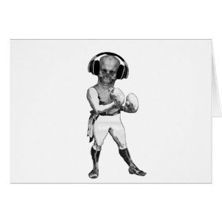 Vintage Boxer with Skull and Headphones Card