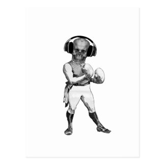 Vintage Boxer with Skull and Headphones Postcard