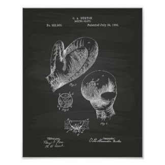 Vintage Boxing Glove 1894 Patent Art - Chalkboard Poster