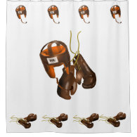 Vintage Boxing Gloves and Helmet Shower Curtain