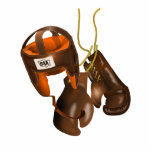 Vintage Boxing Gloves and Helmet Statuette