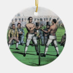 Vintage Boxing; Great Fight for the Championship Double-Sided Ceramic Round Christmas Ornament