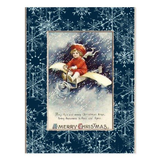Vintage Boy/Airplane Christmas Postcard