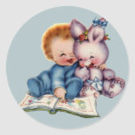 Vintage Boy and Bunny Large Sticker