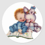 Vintage Boy and Bunny Small Sticker