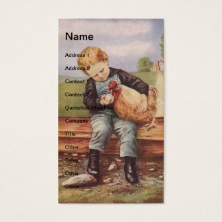 Vintage Boy and Chickens Business Card