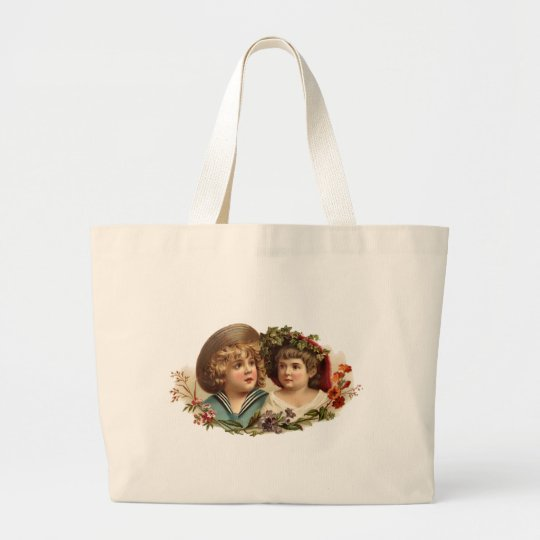 Vintage Boy and Girl Jumbo Tote