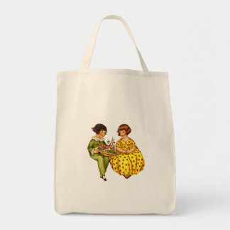 Vintage Boy and Girl Organic Grocery Tote