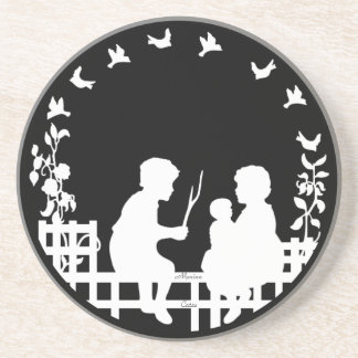 Vintage Boy And Girl Playing Outside Silhouette Drink Coaster