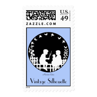 Vintage Boy And Girl Playing Outside Silhouette Postage