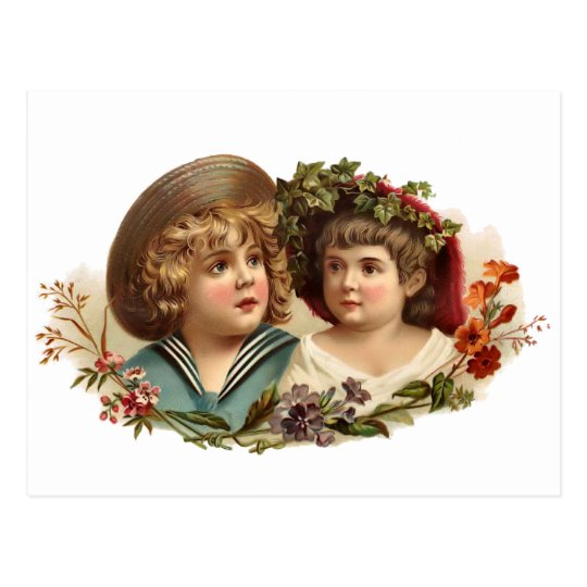 Vintage Boy and Girl Postcard