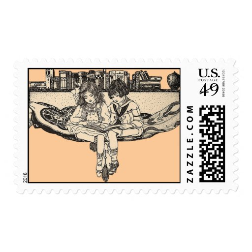 Vintage Boy and Girl Reading Postage