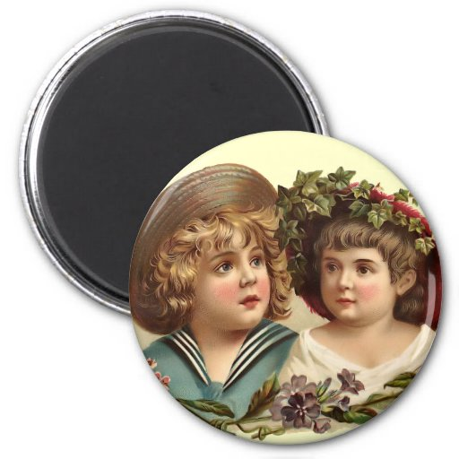 Vintage Boy and Girl Round Magnet