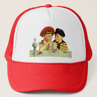 Vintage Boy and Girl Sharing a Shake Trucker Hat