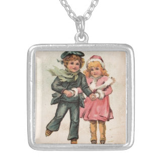 Vintage Boy and Girl Skaters Silver Plated Necklace