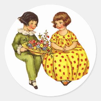 Vintage Boy and Girl Sticker