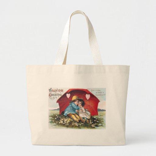 Vintage Boy and Girl Valentine Jumbo Tote Tote Bags