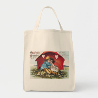Vintage Boy and Girl Valentine Organic Tote